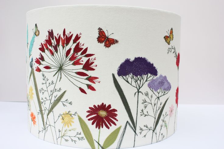 'floral embroidered lampshade' by Lara Sparks embroidery