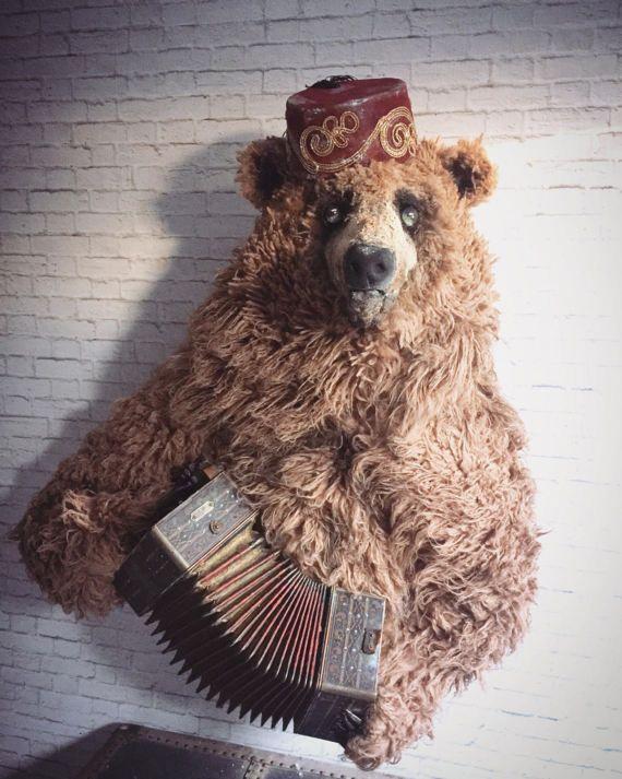 Nicholi+russe+ours+avec+Taxidermie+Faux+accordéon+Antique+