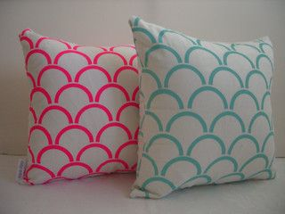 Pink and duck egg cushion covers