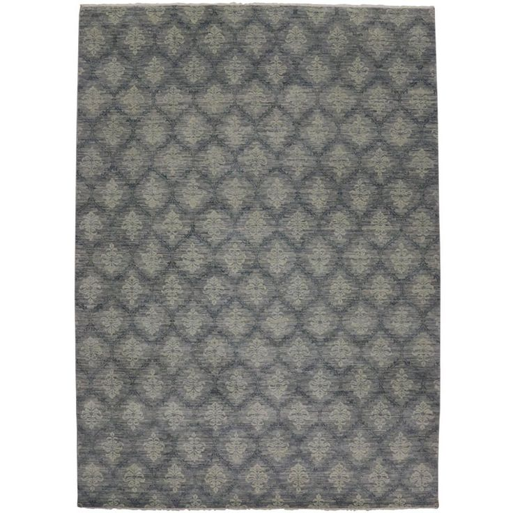 Damask Area Rug, Slate Blue Gray Transitional Rug with Modern Style | From a unique collection of antique and modern indian rugs at https://www.1stdibs.com/furniture/rugs-carpets/indian-rugs/