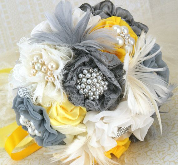 yellow and grey wedding bouquet brooch bouquet vintagestyle in ivory yellow and grey by 1507
