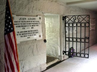 The entrance to the burial crypt of President John Adams and Abigail Adams and President John Quincy Adams and Louisa Adams, located in the basement of United First Parish Church in Quincy, Massachusetts.