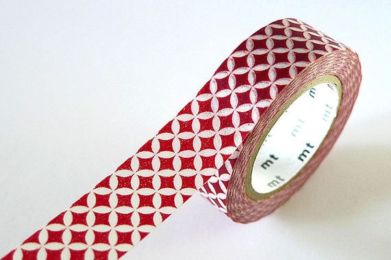 Petal Circle Star Washi Tape RED 15mm Japanese MT by PrettyTape, $4.00