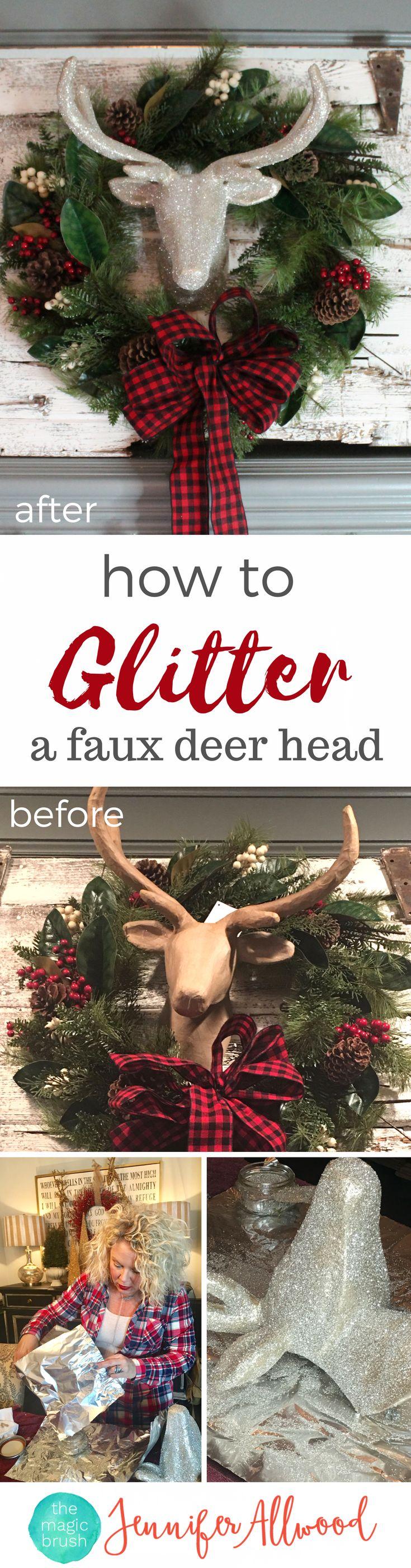 How to make a glitter deer head Christmas Decor | Magic Brush