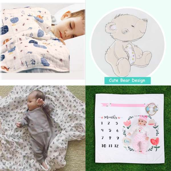 High Quality 4pcs Pack 100 Cotton Supersoft Flannel Receiving Baby Blanket Swaddle Baby Bedsheet 76 76cm Baby Blankets Newborn