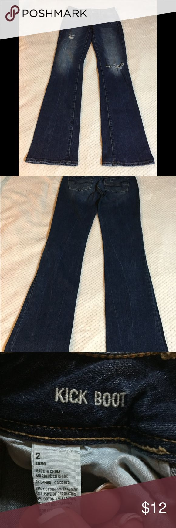 American Eagle Jeans AE distressed kick boot in Sz 2 Long.  I purchased these online without realizing they were a long so I have no use for these.  Must go!! American Eagle Outfitters Jeans Boot Cut