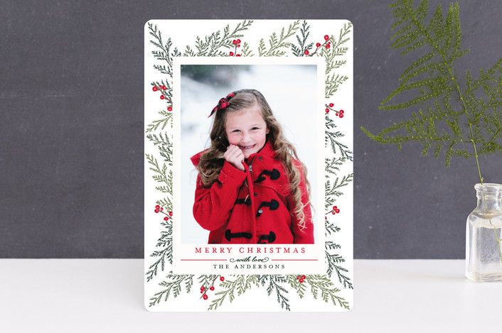 """""""Christmas Blessings"""" - Christmas Photo Cards in Crimson by Susan Moyal."""