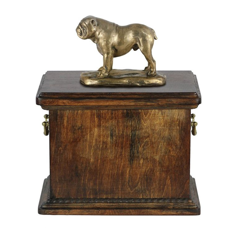 Cremation Wood Casket English Bulldog  Memorial Urn for Dog's ashes,with Dog statue , Pet urn (66)