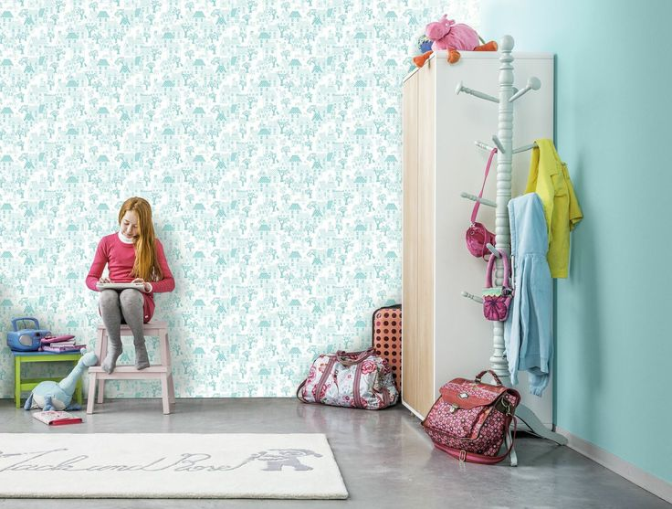 This pretty #wallpaper design is called My House and is from the Jack N Rose kid's wallpaper collection by Galerie. This all over design features houses, trees and people #KidsDecor