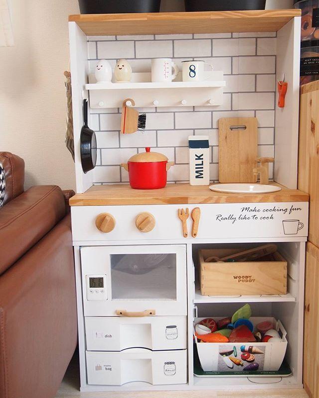 子どもが喜ぶ カラーボックスで作るままごとキッチンがすごい