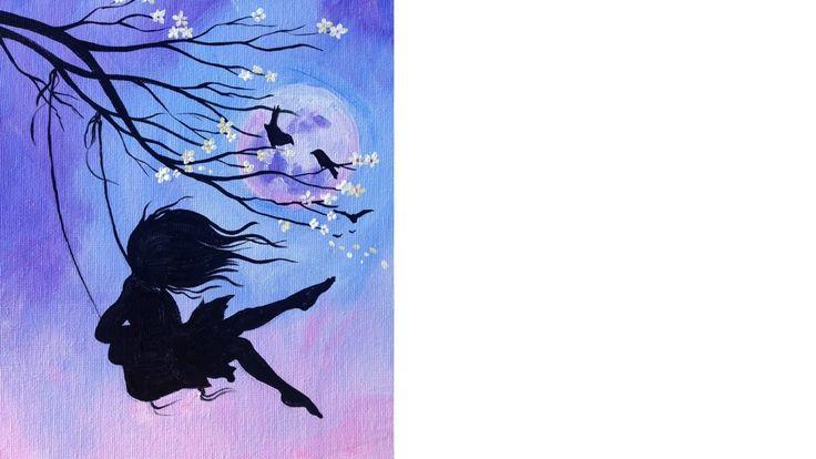 Beginner Acrylic Tutorial Cherry Blossom Swing And Girl