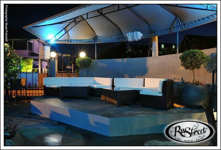 Outdoor deck/stage, covered lounge style