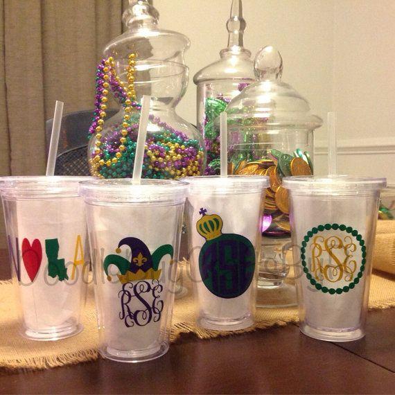mardi gras party tumbler cup personalized monogram louisiana nola new orleans carnival jester