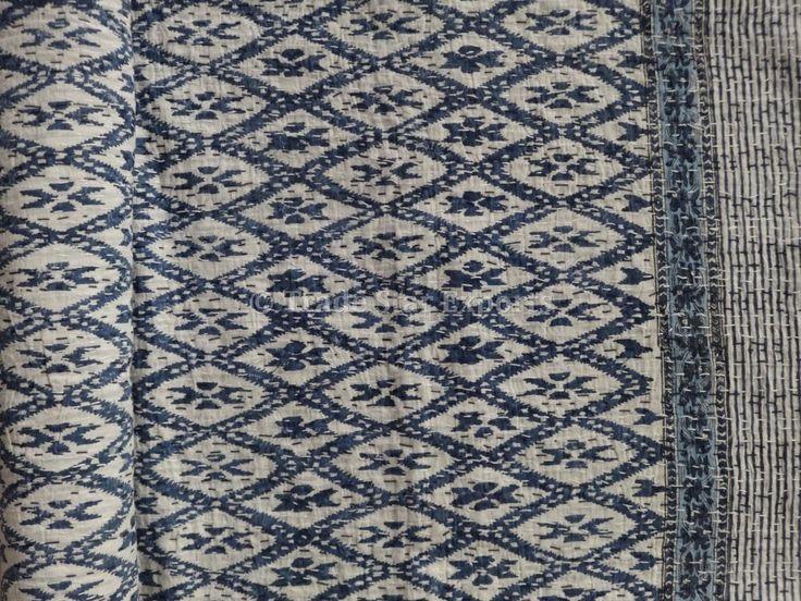 Indigo Hand Block Print Kantha Throw Indian Quilt Queen Reversible Ikat Bedding #TradeStarExports #HandBlockPrint