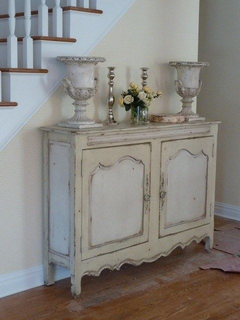 Nice Foyer Piece White + Cream French Buffet Table With Curvy Lines