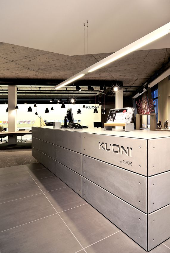 Kuoni - Flagship Store Lausanne, design by Dreimeta. :::reception, desk, entrance, concrete paneling