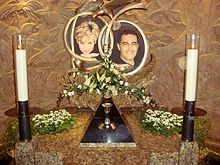 The first of two memorials to Diana, Princess of Wales and Dodi Fayed in Harrods