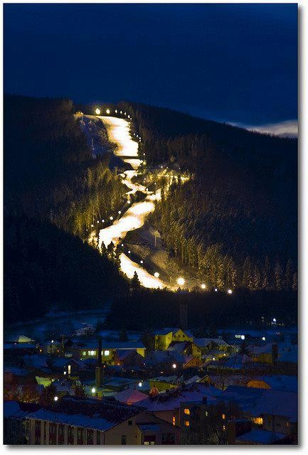 Ski slope at night, Romania