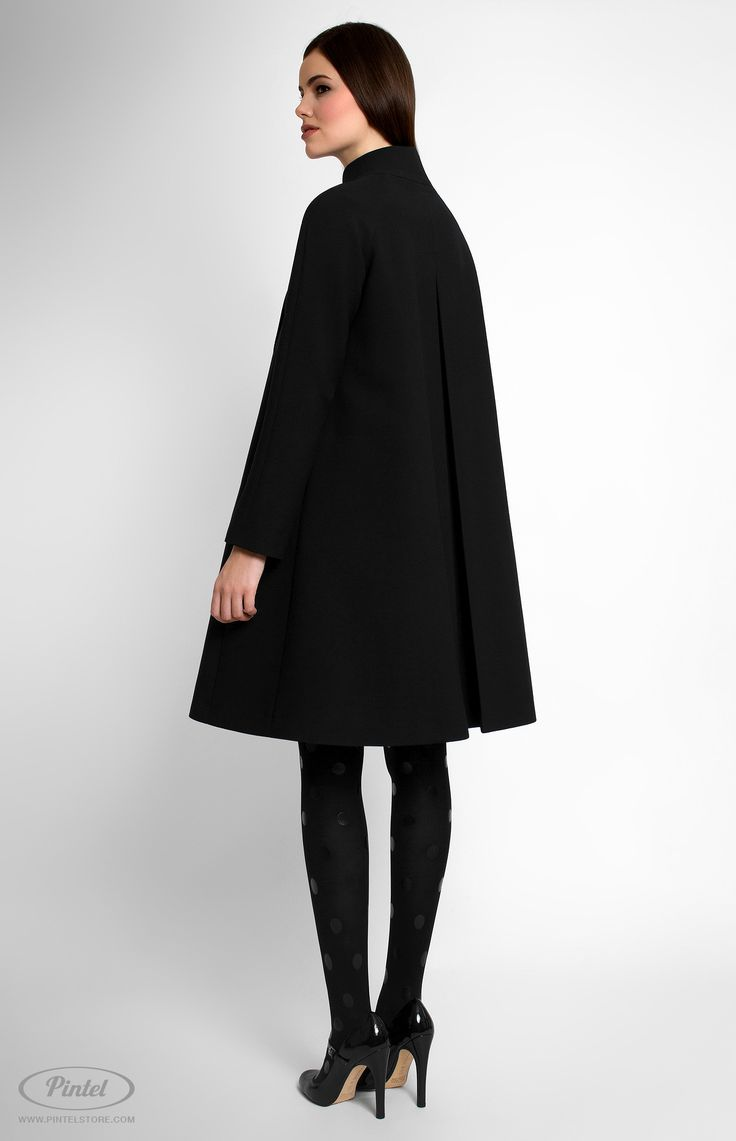 Long sleeve A-shape genuine wool coat. Band collar. Hidden front pins. Decorated with designer handmade true-wool and cotton flowers. Side seam pockets. Back box pleat. On the photo: model is wearing a size S and is 176 cm.  #Pintel #pintelstore