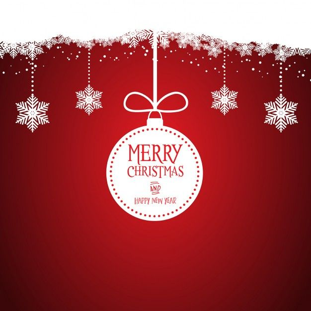 Nice red background with a white christmas ball Free Vector