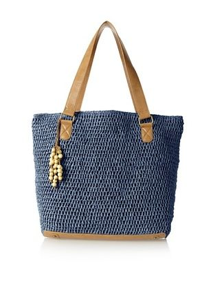 50% OFF Straw Studios Women's Solid Tote, Blue