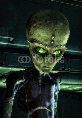 UFO: green alien invader, art by Luca Oleastri - www.innovari.it #ufo