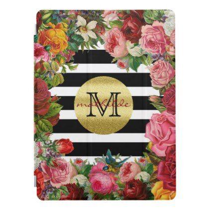 #Trendy Monogram Stripes Roses Flowers Gold Glitter iPad Pro Cover - #gold #glitter #gifts