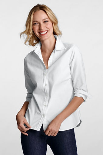 Land's End women's Oxford shirt. Dark wash jeans and a colored kitten heel? Always easy - and cute.