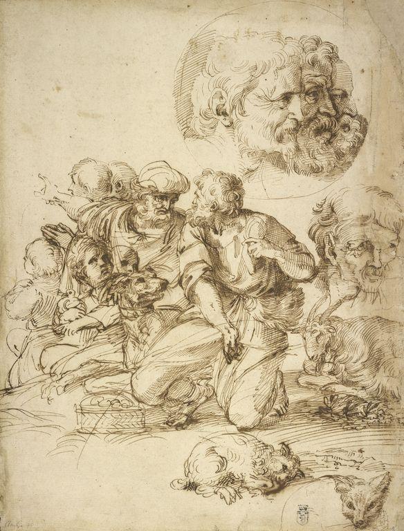 Agostino Carracci - Studio con Gruppo di pastori