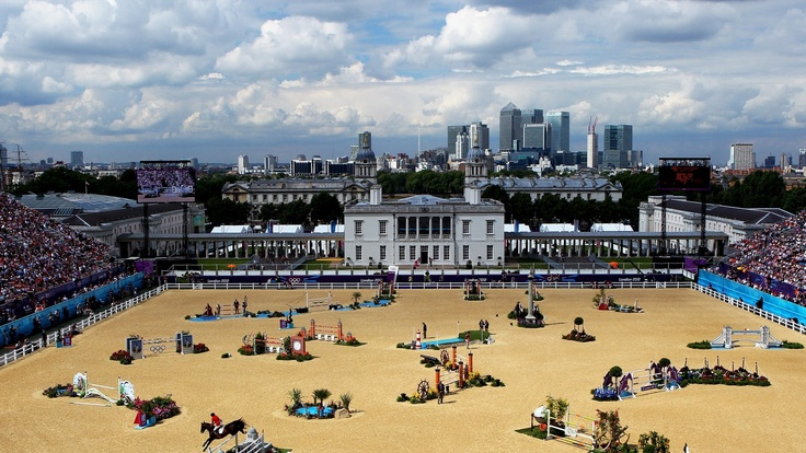 A general view of the third qualifier of Individual Jumping on Day 10 of the London 2012 Olympic Games at Greenwich Park