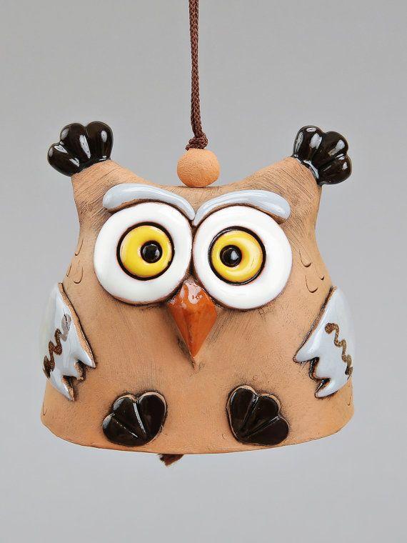 Ceramic Animal Bells : Dragon Hedgedog Rabbit Owl Bell