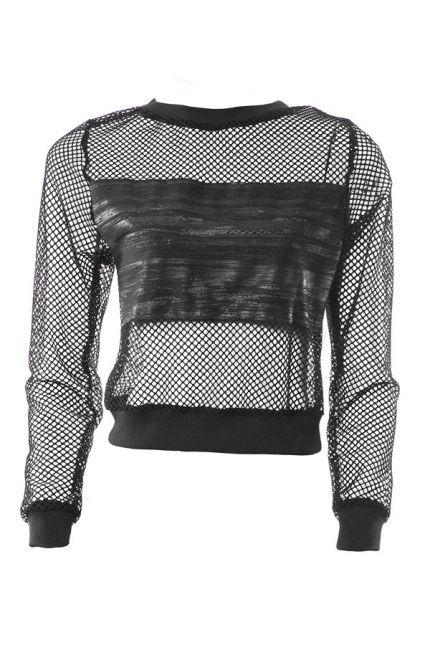 Dla odważnych siatkowa bluza z wstawką z czarnej ekoskóry od LUV YOU TOO <3 U 2. #Bluza #leather #BoutiqueLaMode.com