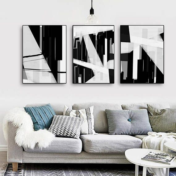 Abstract Poster City Prints Black And White Set Of 3 Wall Art Etsy Etsy Wall Art Abstract Poster Living Room Art