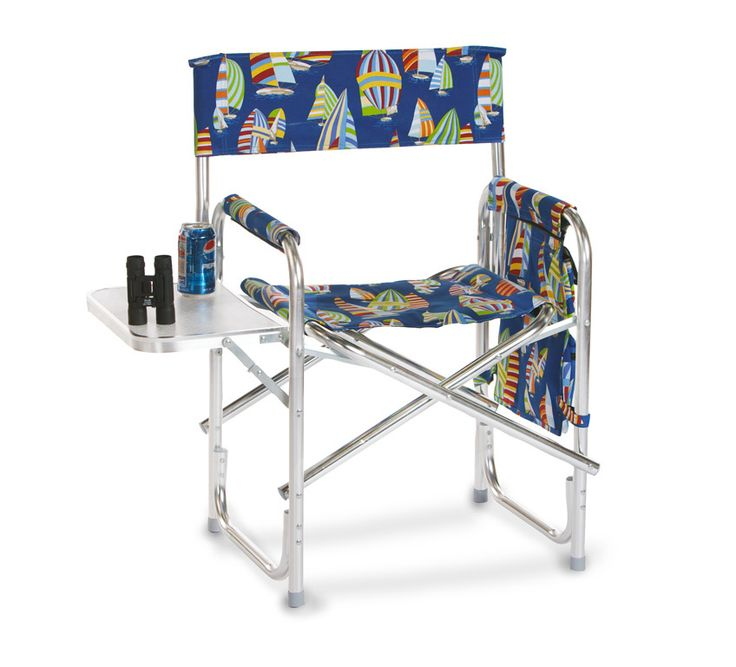 Portable Folding Chair With Side Table And Accessory Bag   Chairs With  Attached Table