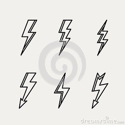 Lightning icon minimal linear contour outline