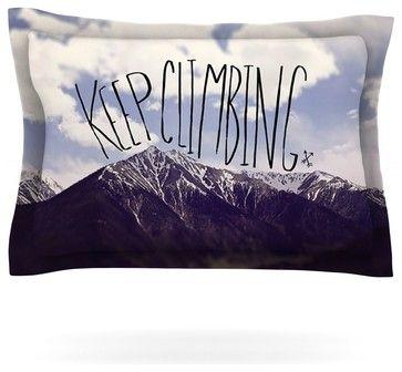 "Leah Flores ""Keep Climbing"" Mountain Quote Pillow Sham (Woven, 40"" x 20"") contemporary-pillowcases-and-shams"