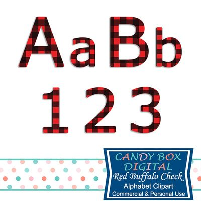 Red Buffalo Check Alphabet Clipart by Candy Box Digital. As comfy as a warm fire at winter. Use this alphabet for scrapbooks, journals, blogs, websites, announcements and invitations, and paper crafts - Candy Box Digital