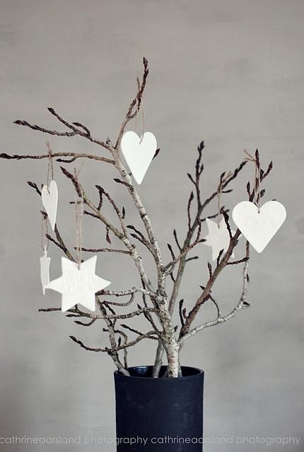 Heart christmas branch.