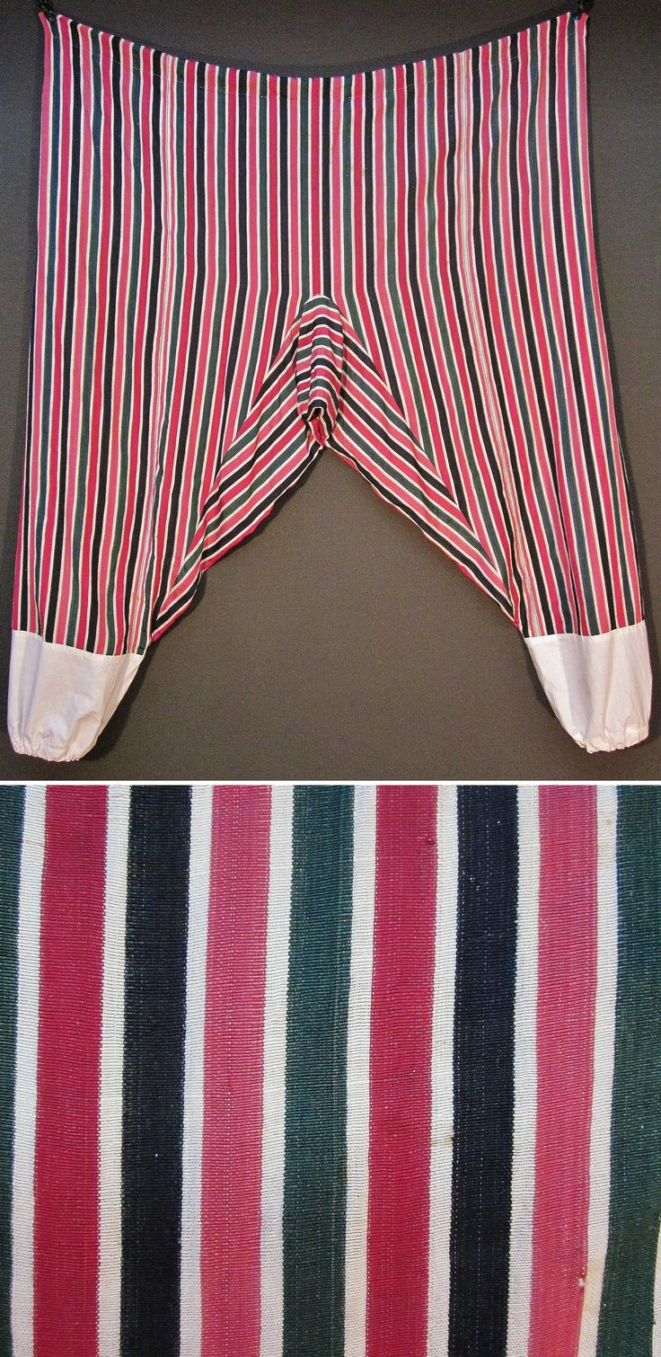 Striped silk 'şalvar' (baggy pants), for women.  From the Aegean region, ca. 1925.  The lower parts of the trouser-legs (in white cotton fabric) have been renewed.  (Inv.n° $al049 - Kavak Costume Collection - Antwerpen/Belgium).
