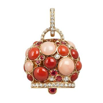 Maxi Campanella charm set in white gold, pink, red and orange coral, orange sapphires and diamonds
