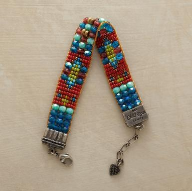 """Faceted and fire-polished Czech beads put the sparkle in our bracelet. Hand loomed by Adonnah Langer. Sterling silver ends and lobster clasp. Exclusive. Made in USA. 6-1/2"""" to 7-1/4""""L."""