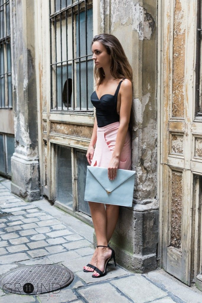 pastel colors, clutch, skirt, heels, fashion, day light, outfit, ootd, 11ground, sweater