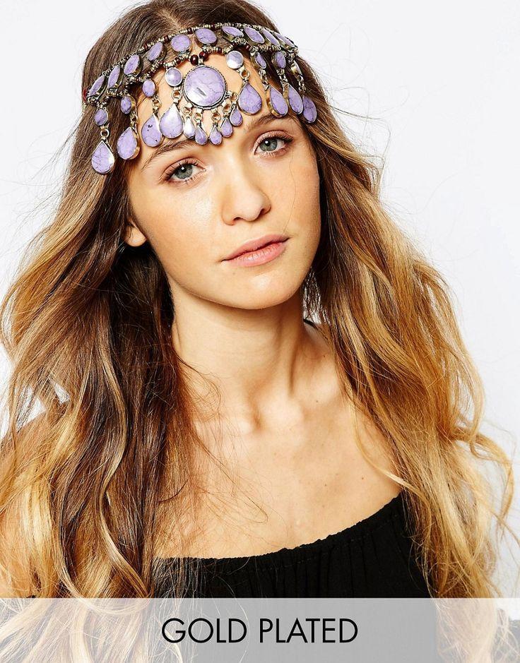 Image 1 ofRock 'N' Rose Evangeline Purple Jade Gemstone Headdress