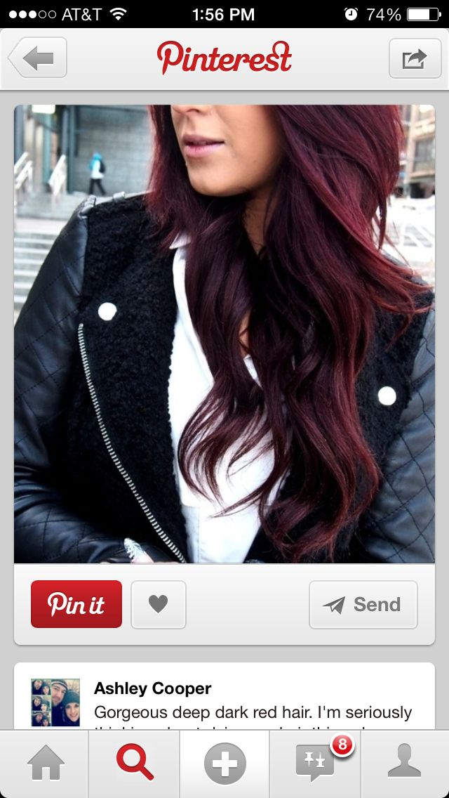 """Dark red violet hair — not so nice, pretty tacky looking and too """"fake"""" regardless of this type of color supposed to be """"fake-looking"""" purposefully, just saying…?"""