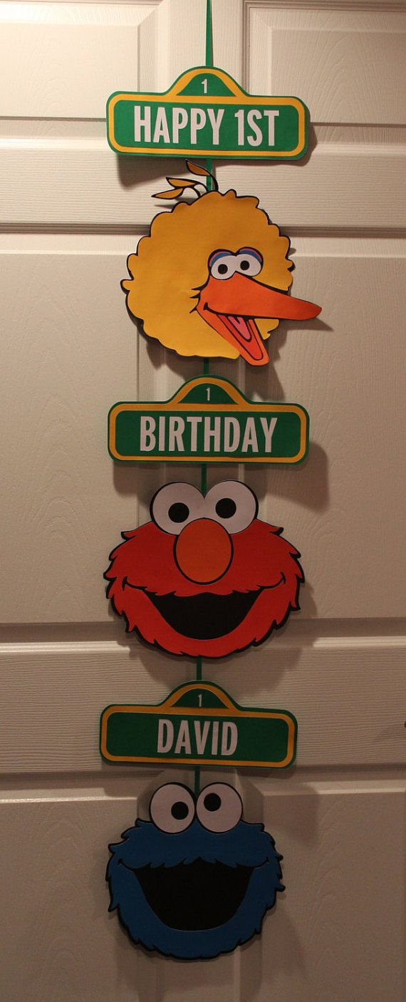 Hey, I found this really awesome Etsy listing at https://www.etsy.com/listing/399207439/hanging-sesame-street-birthday-sign