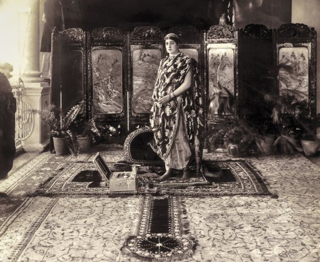 This photograph by Raja Deen Dayal & Sons of Hyderabad, taken in 1915, shows Rani Prem Kaur Sahiba of Kapurthala - originally Anita Delgado Briones of Spain. Courtesy MAP/Tasveer