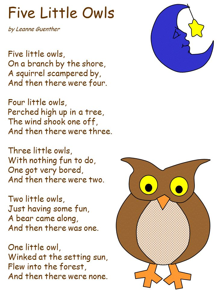 Owl poem | Preschool songs | Pinterest