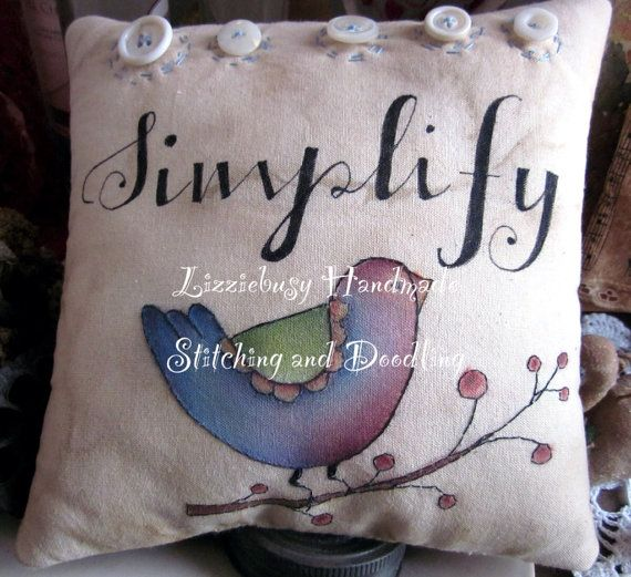 Simplify blue bird stitchery pillow by lizziebusyhandmade on Etsy, $24.00