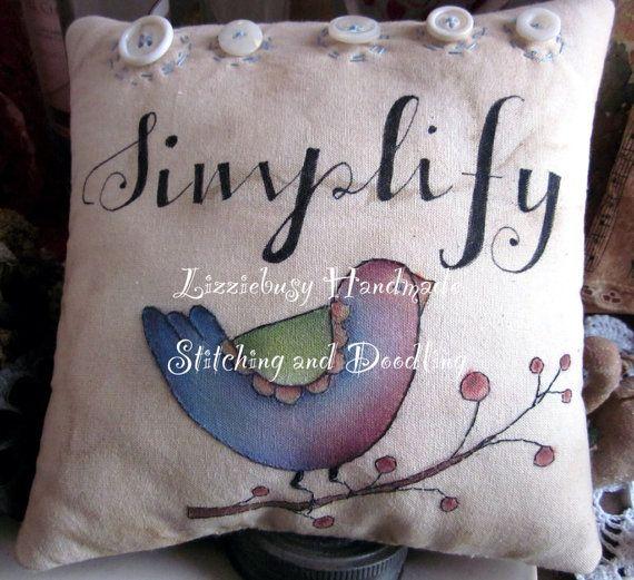 Simplify blue bird stitchery pillow by lizziebusyhandmade on Etsy, $24.00