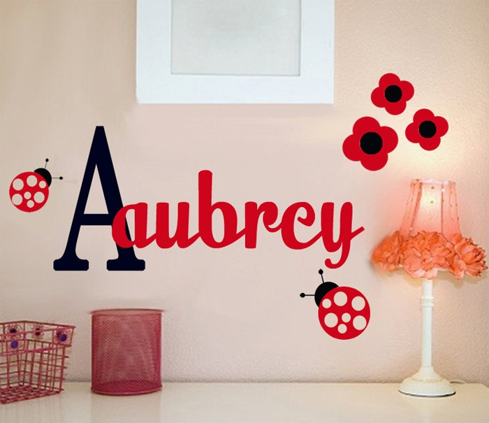 MONOGRAM Name Ladybug and Flowers Wall Decal by MonogramsForYou